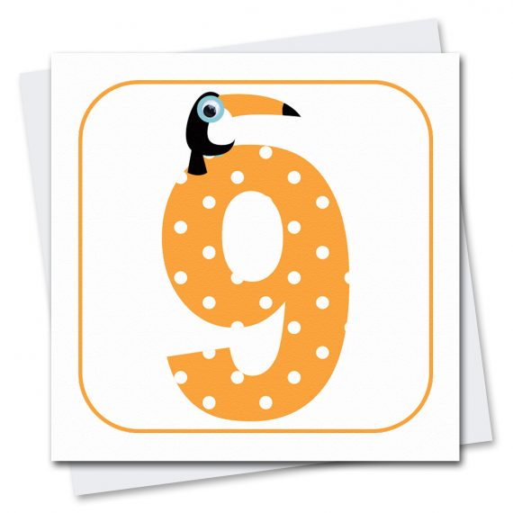 458 Age-9-Toucan-Birthday-Card-Stripey-Cats