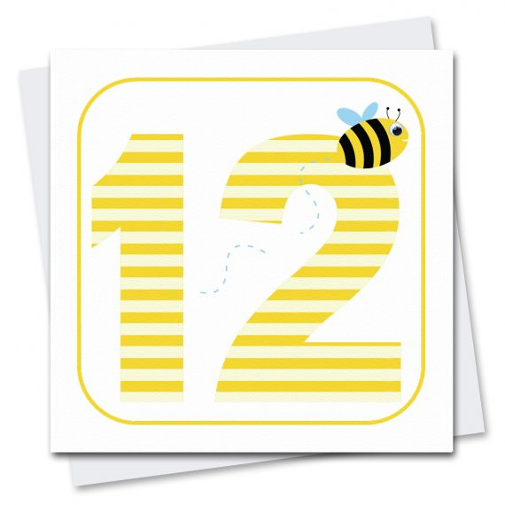461 Age-12-Bee-Birthday-Card-Stripey-Cats