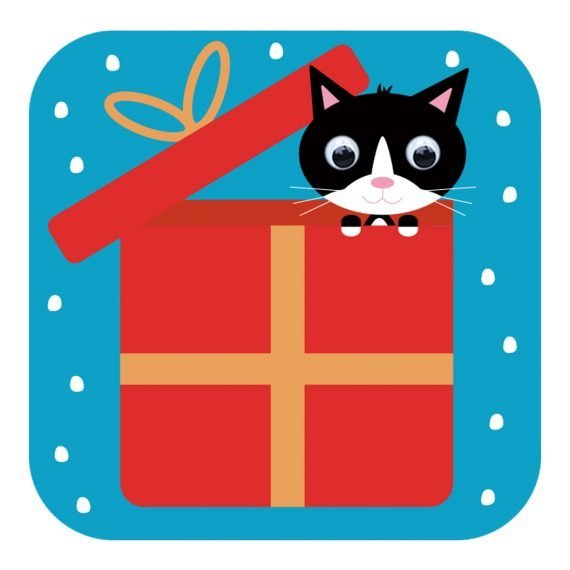 Kitten Surprise Christmas card with wobbly eyes by Stripey Cats