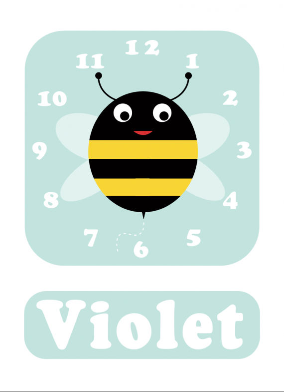 Bee Clock Spearmint Blue