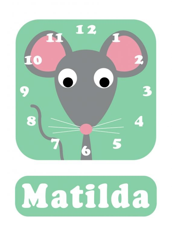 Mouse Clock Spearmint Green-01