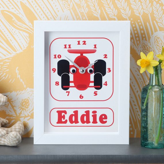 Personalised Racing Car Clock by Stripey Cats