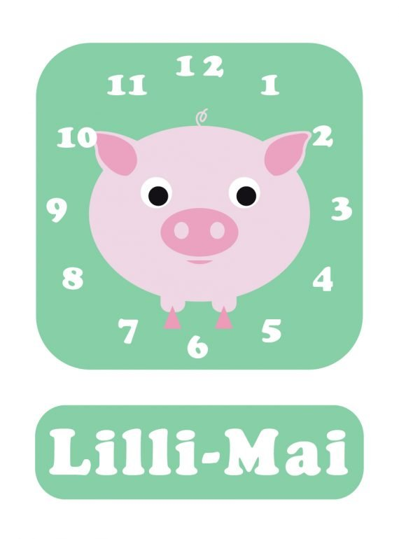 Pig Clock Spearmint blue