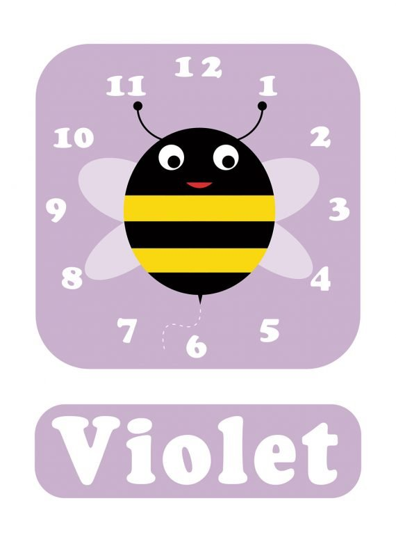 Stripey-cats-Bee-Clock-Lilac-01