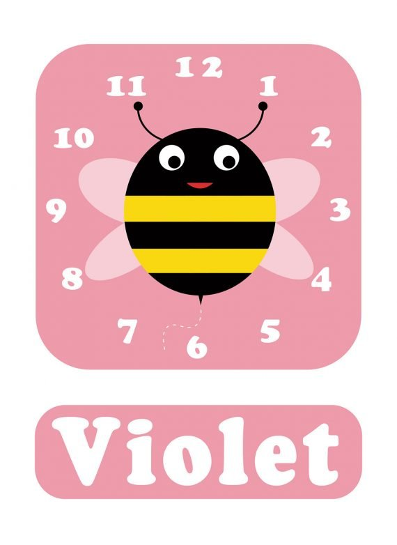 Stripey-cats-Bee-Clock-Pink-01