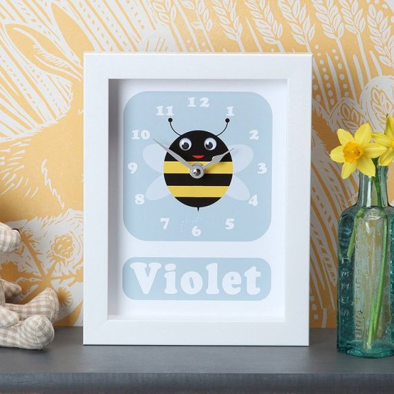 Stripey-cats-personalised-Bee-Clock