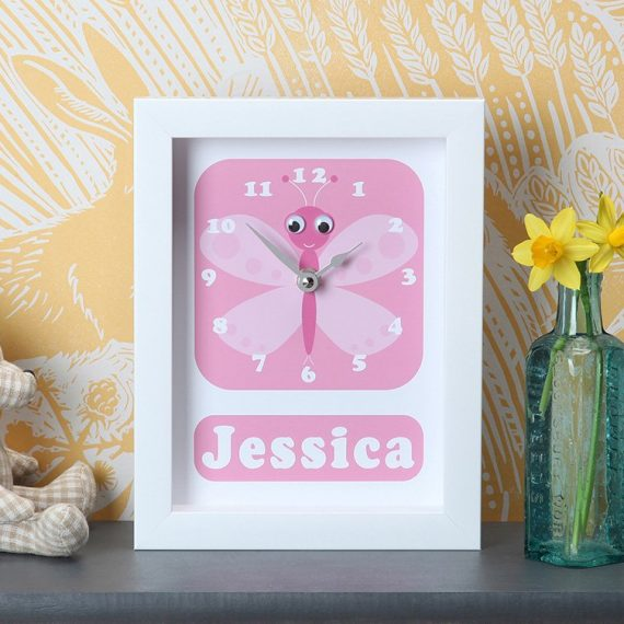 Stripey-cats-Butterfly Clock personalised