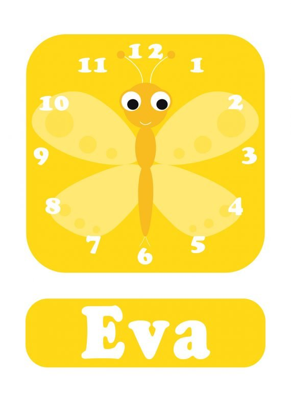 Stripey-cats-Butterfly-Yellow-Clock-01