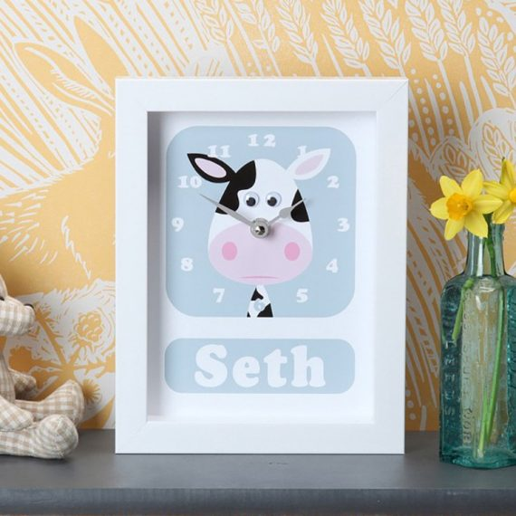 Stripey-cats-Cow-Clock-Personalised