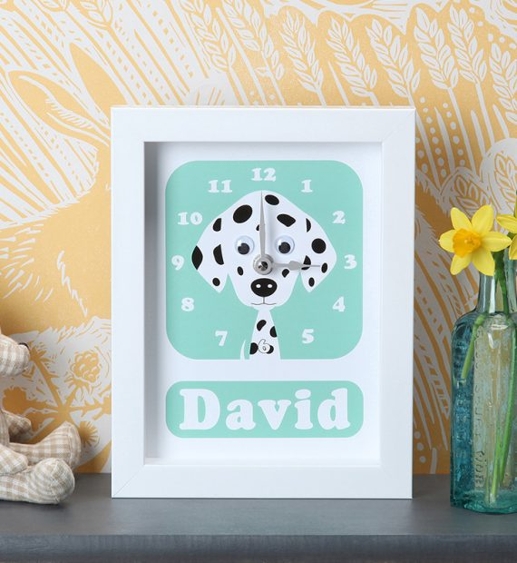Stripey-cats-Dalmatian Clock Personalised