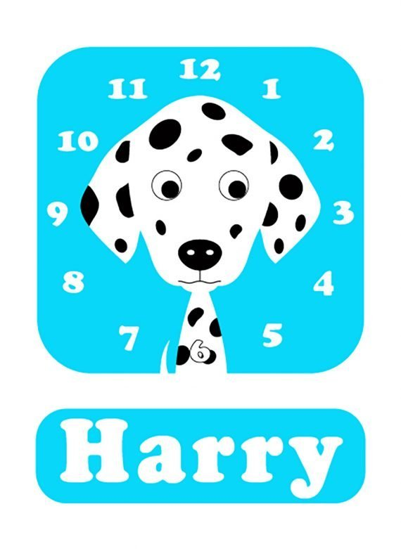 Stripey-cats-Dalmatian-Clock-blue-01