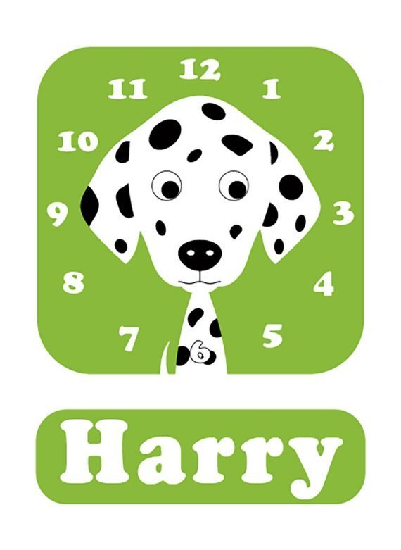 Stripey-cats-Dalmatian-Clock-green-01