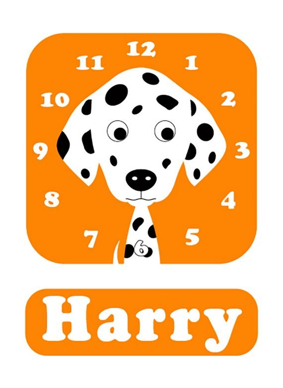 Stripey-cats-Dalmatian-Clock-orange-01
