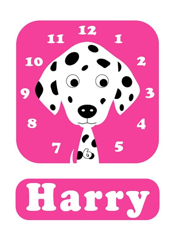 Stripey-cats-Dalmatian-Clock-pink-01