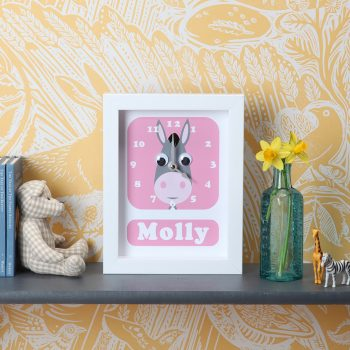 stripey-cats-donkey-clock-personalised