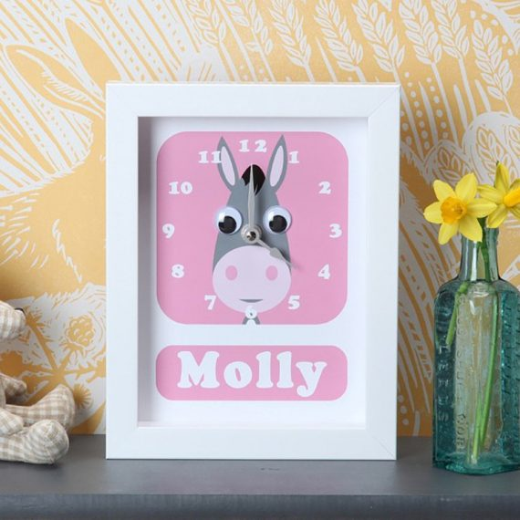 Stripey-cats-personalised-Donkey-Clock-Personalised