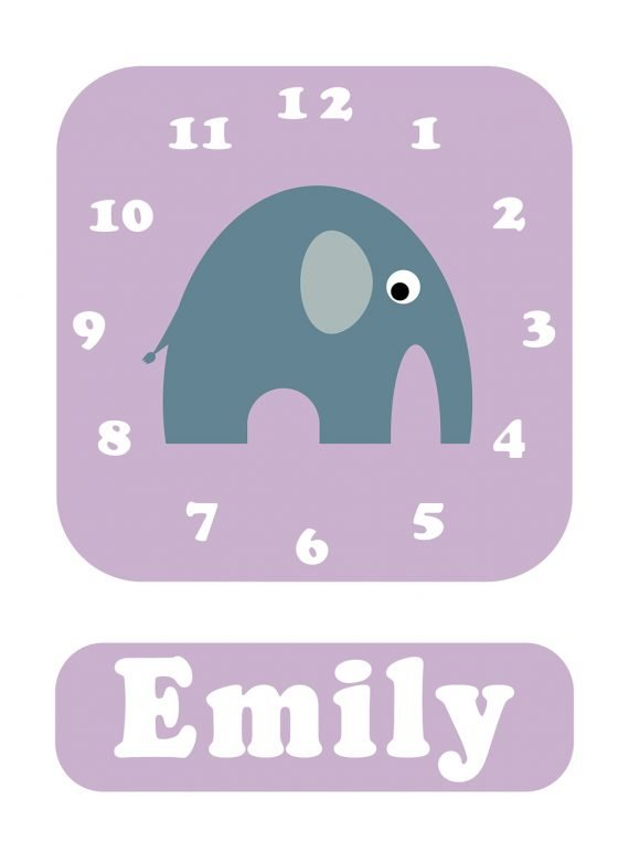 Stripey-cats-Elephant-Clock-Lilac-01