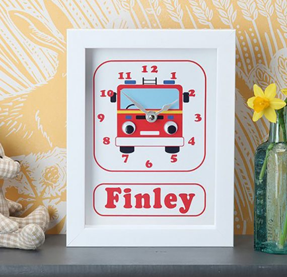 Stripey-cats-personalised-Fire_engine-Clock