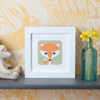 Stripey-cats-Fox-Framed-Print