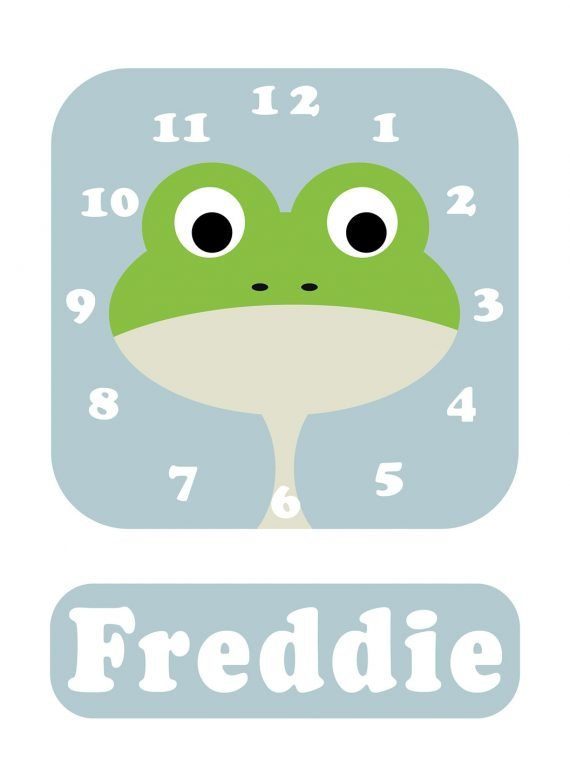 Stripey-cats-Frog-Clock-Blue-01