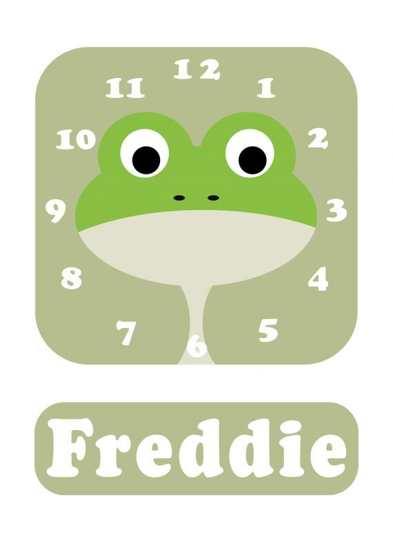Stripey-cats-Frog-Clock-Green-01