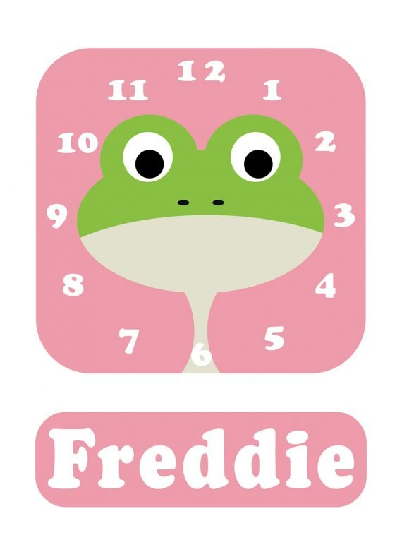Stripey-cats-Frog-Clock-Pink-01