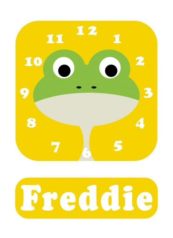 Stripey-cats-Frog-Clock-Yellow-01