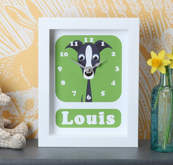 Stripey-cats-Whippet-Clock-personalised