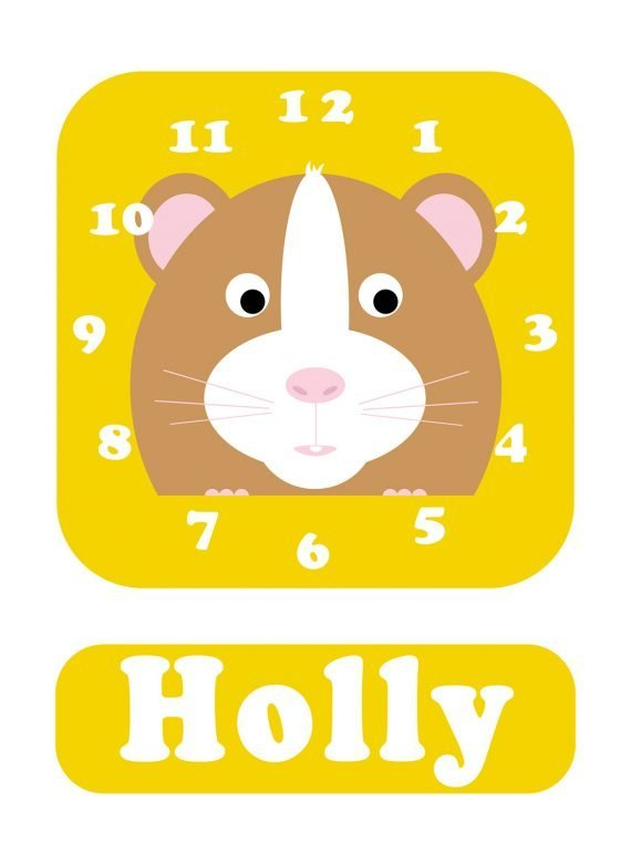 Stripey-cats-Hamster-Clock-Yellow-01