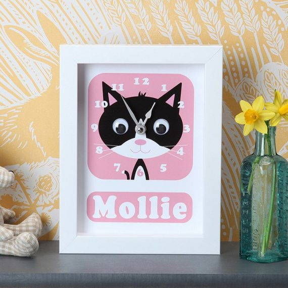 Stripey-cats-Personalised-Kitten-Clock