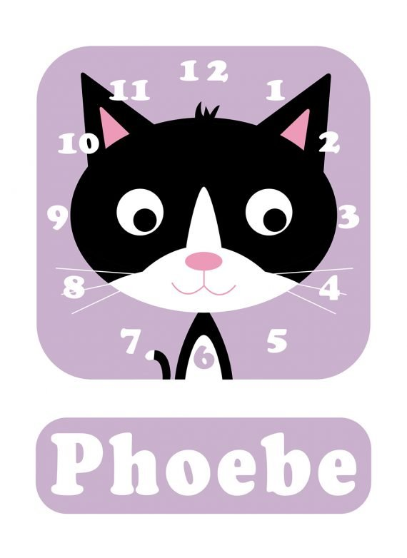 Stripey-cats-Kitten-bw-Clock-Lilac-01