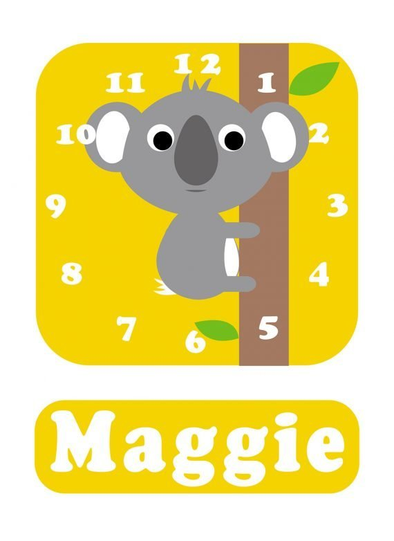 Stripey-cats-Koala-Clock-Yellow-01
