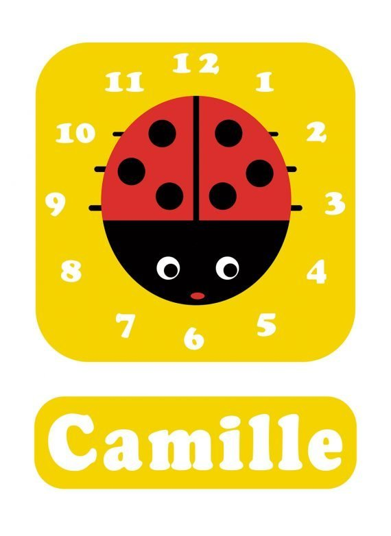 Stripey-cats-Ladybird-Clock-Yellow-01