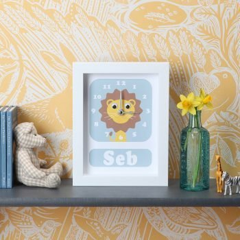 stripey-cats-personalised lion clock
