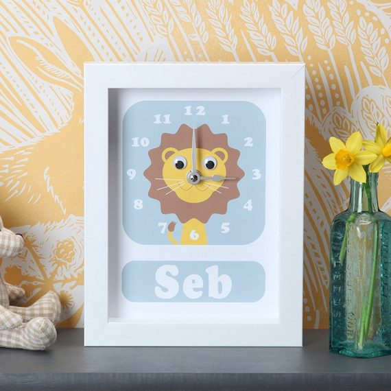 Stripey-cats-personalised-Lion-Clock