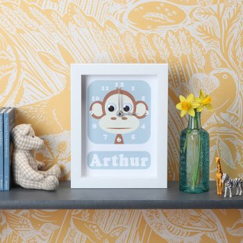 stripey-cats-personalised-monkey-clock
