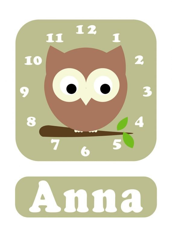 Stripey-cats-Owl-Clock-Green-01