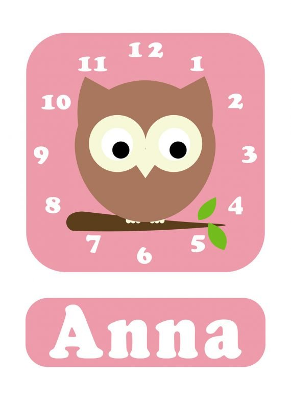 Stripey-cats-Owl-Clock-Pink-01