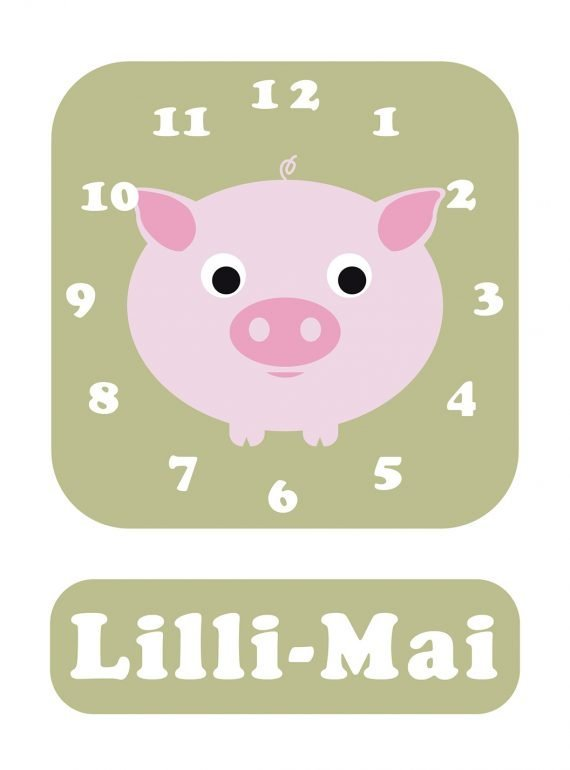 Stripey-cats-Pig-Clock-Green-01