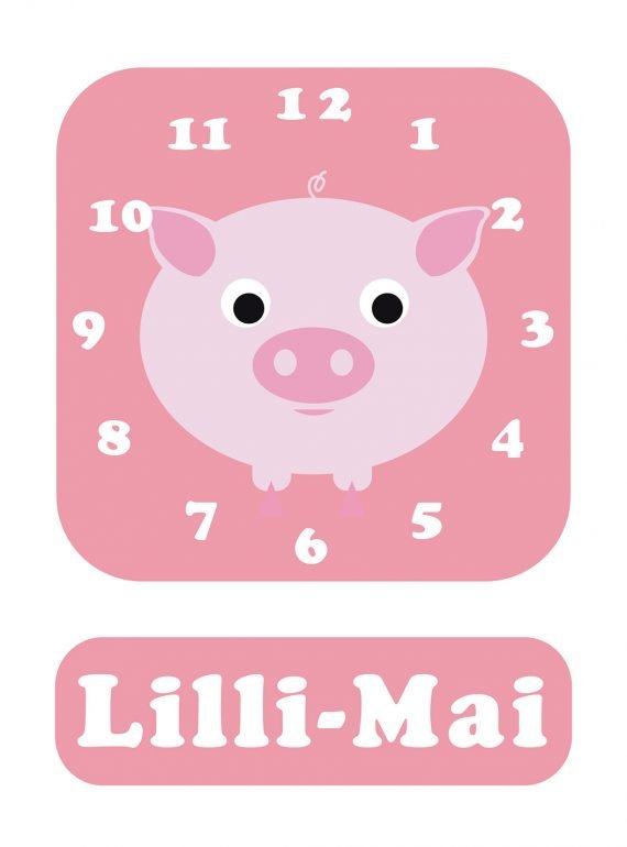 Stripey-cats-Pig-Clock-Pink-01