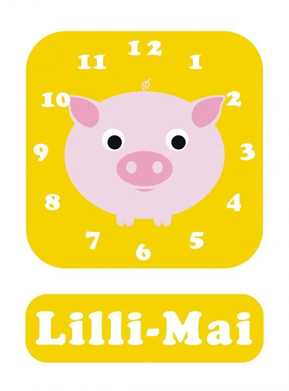 Stripey-cats-Pig-Clock-Yellow-01