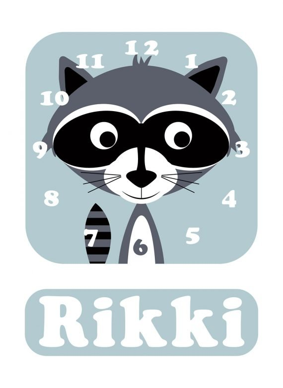 Stripey-cats-Racoon-Clock-Blue-01