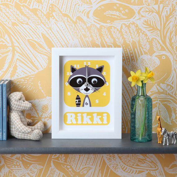 Stripey-cats-Racoon-Clock-Personalised