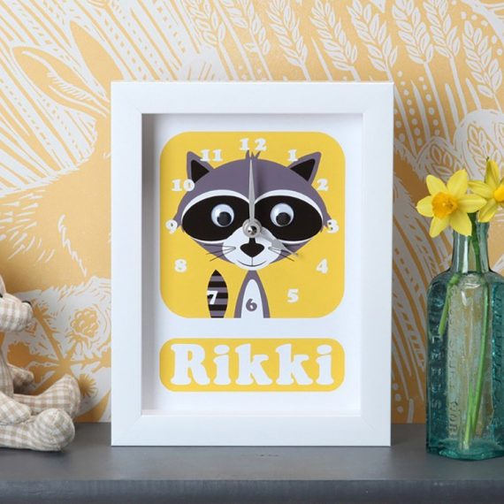 Stripey-cats-personalised-Racoon-Clock-Personalised