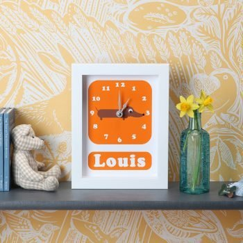 stripey-cats-sausage-dog-clock-personalised