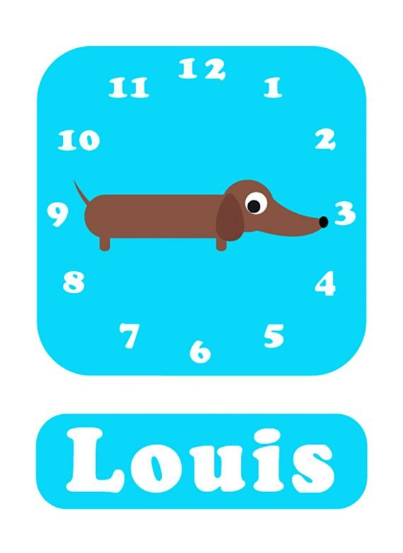 Stripey-cats-Sausage-dog-Clock-blue-01