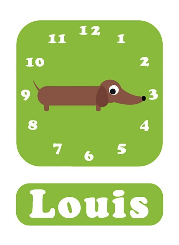 Stripey-cats-Sausage-dog-Clock-green-01