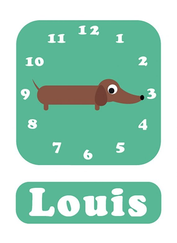 Stripey-cats-Sausage-dog-Clock-mint-01