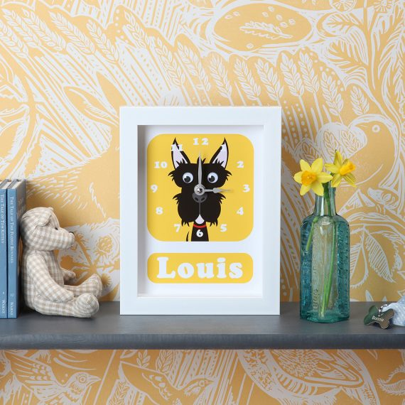 Stripey-cats-Scotty Dog Clock Personalised
