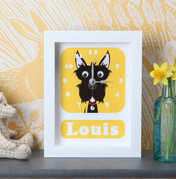 Stripey-cats-Scottie Dog Clock Personalised